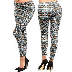 Aztec Black Mint Orange Pattern print Leggings